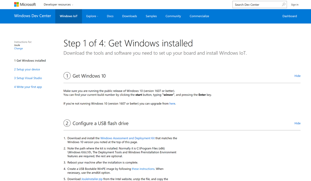 Mobile Embedded and device programming - How to install Windows 10